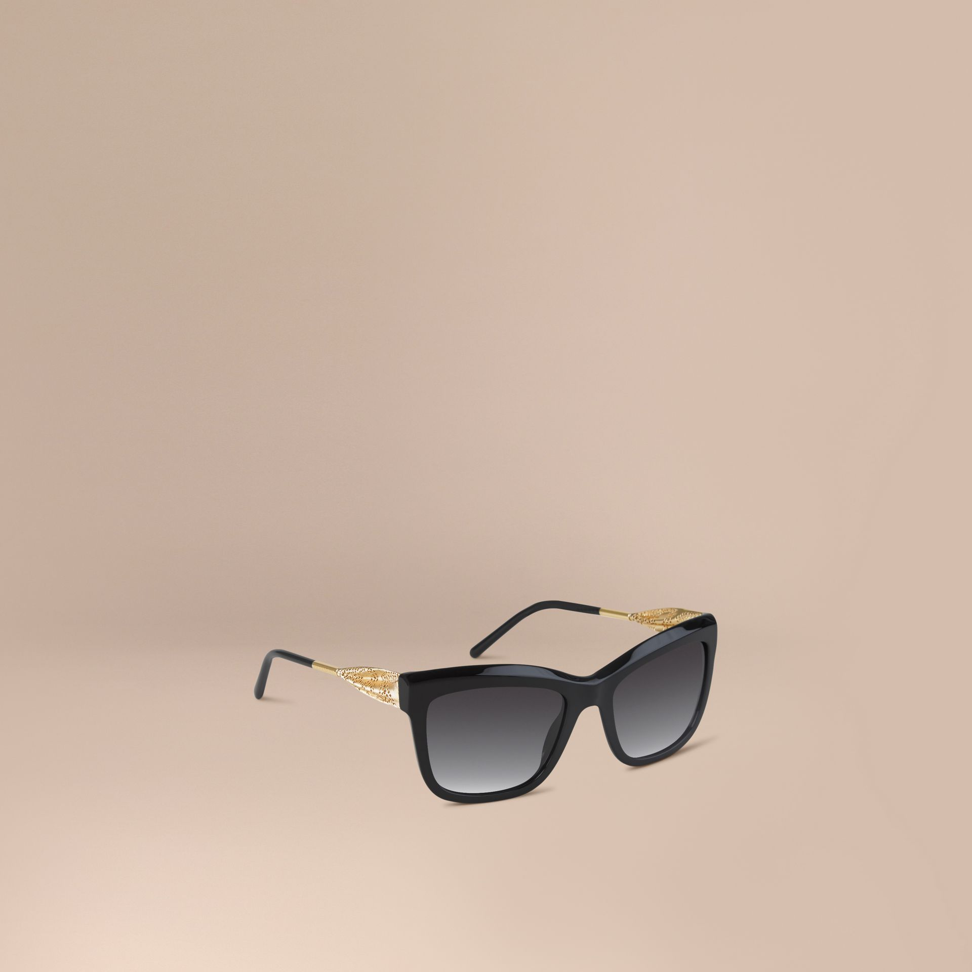 Black Gabardine Lace Collection Square Frame Sunglasses Black - gallery image 1