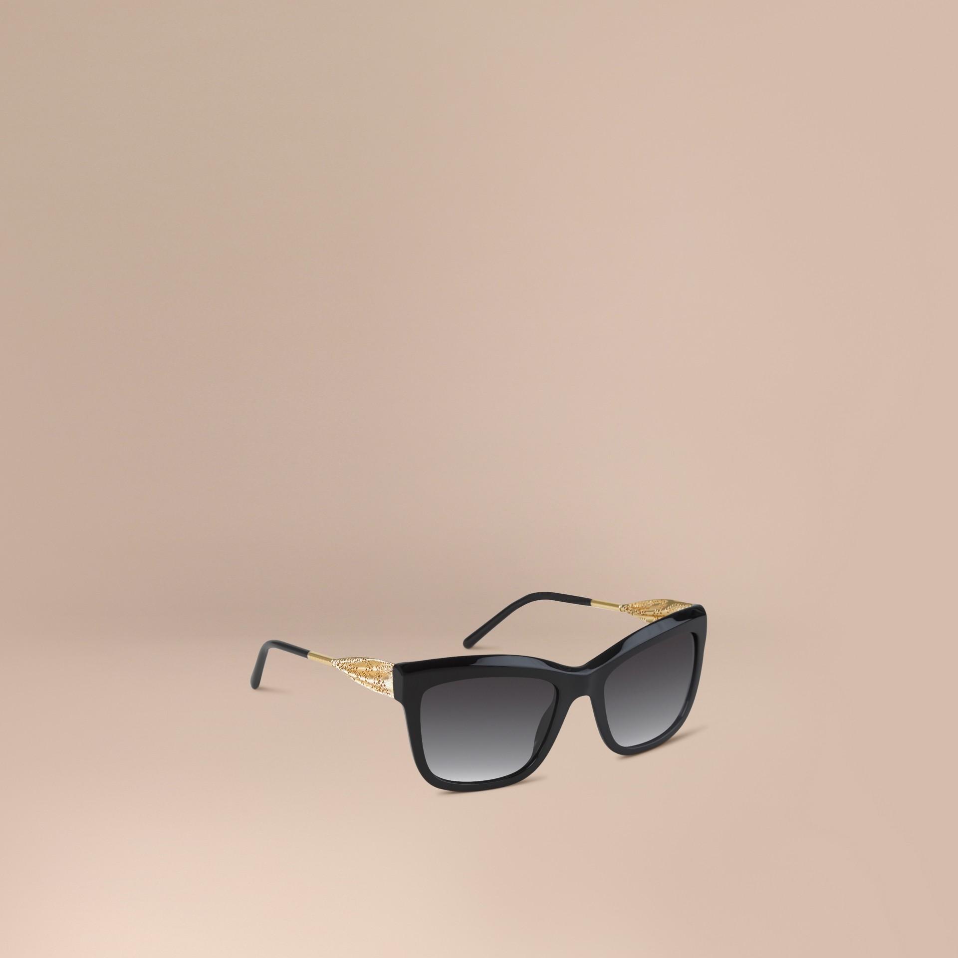 Preto Óculos de sol com armação quadrada da coleção Gabardine Lace Preto - galeria de imagens 1