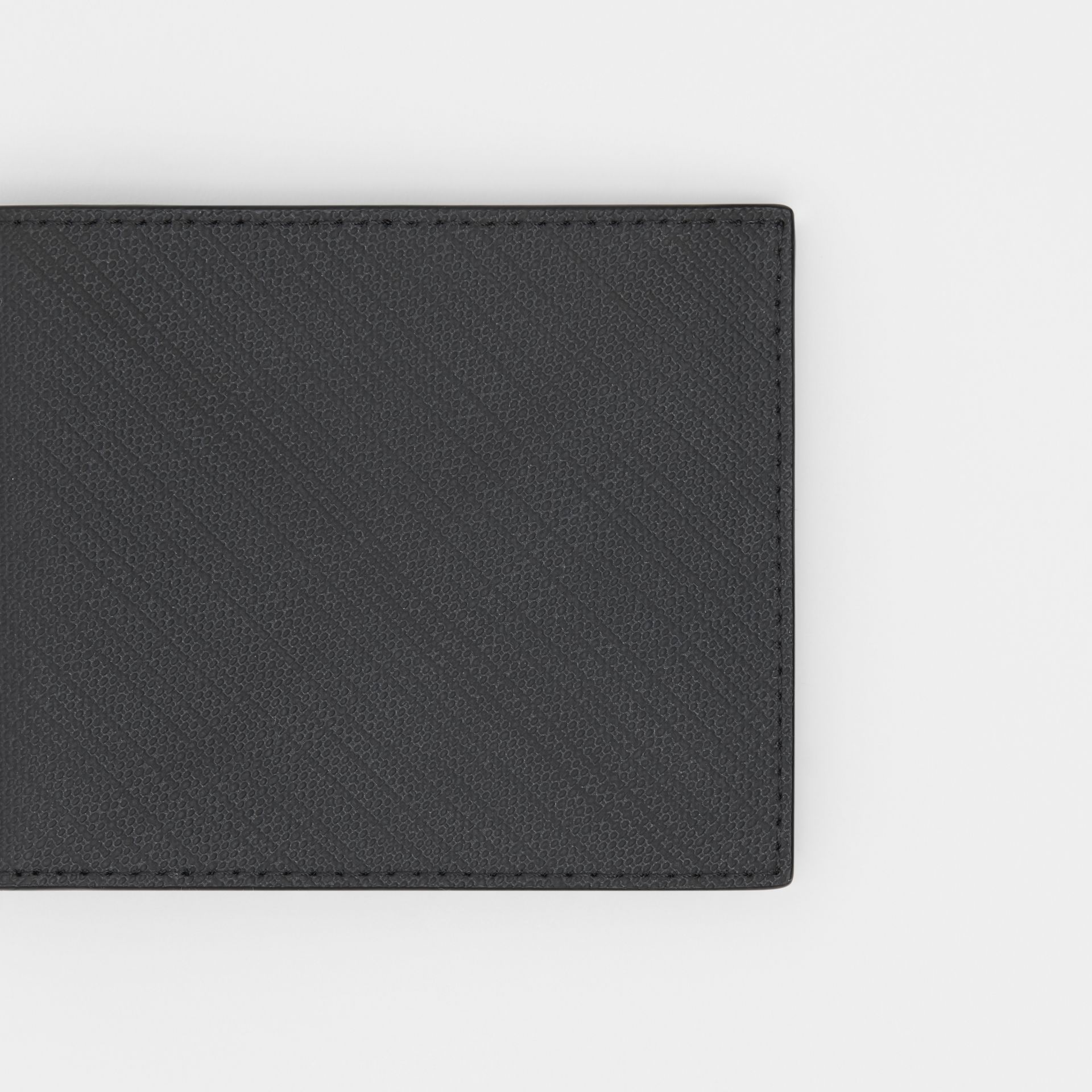 London Check and Leather Bifold Wallet in Dark Charcoal - Men | Burberry United Kingdom - gallery image 1