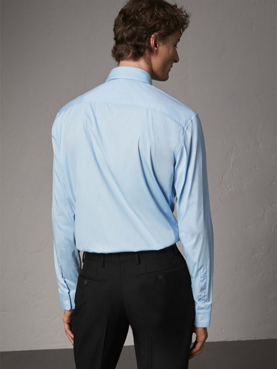 Modern Fit Stretch Cotton Shirt in City Blue - Men | Burberry Hong Kong - cell image 2