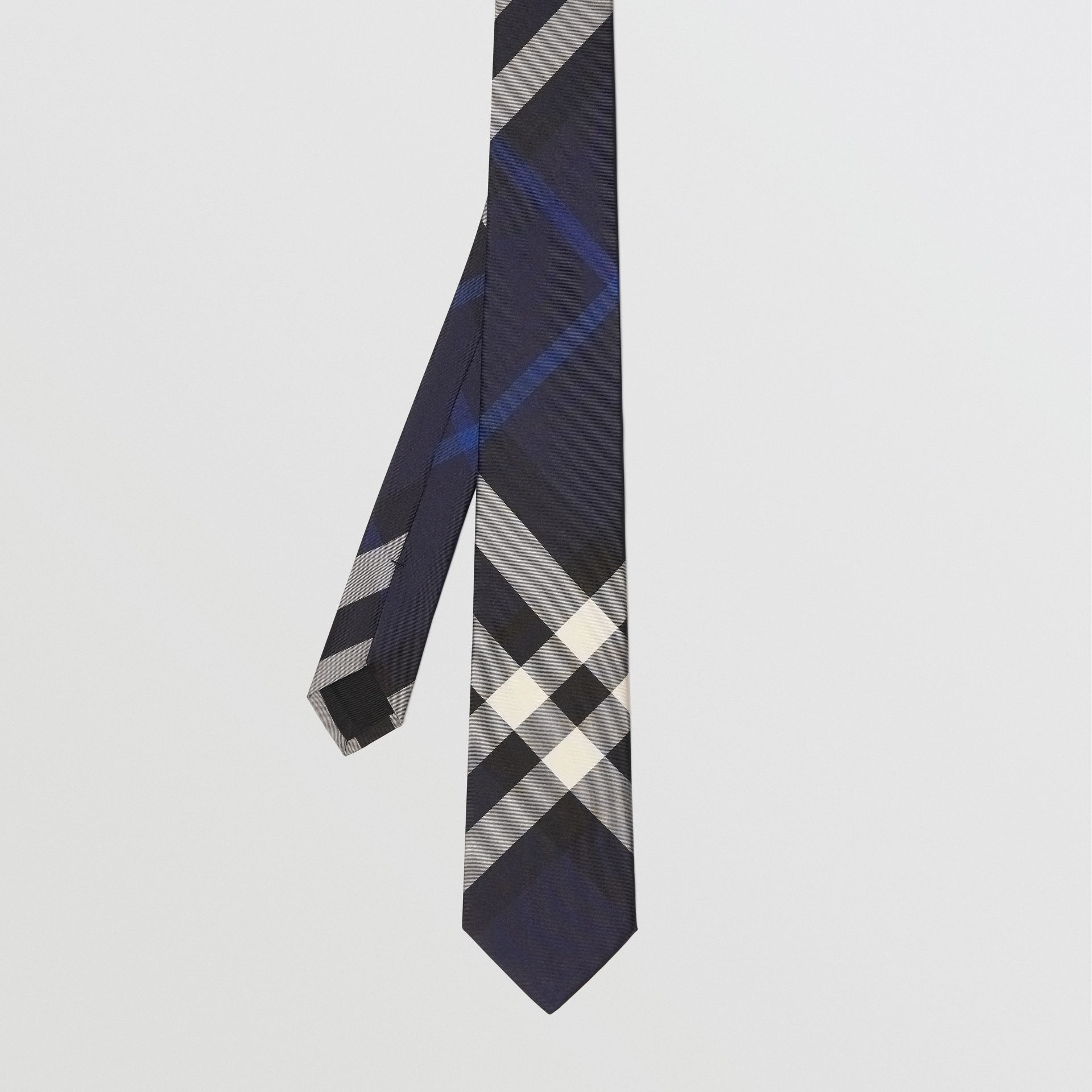 Modern Cut Check Silk Tie in Indigo Blue - Men | Burberry - gallery image 3
