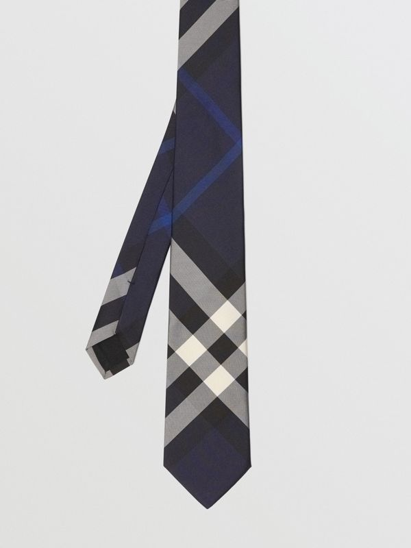 Modern Cut Check Silk Tie in Indigo Blue - Men | Burberry Singapore - cell image 3
