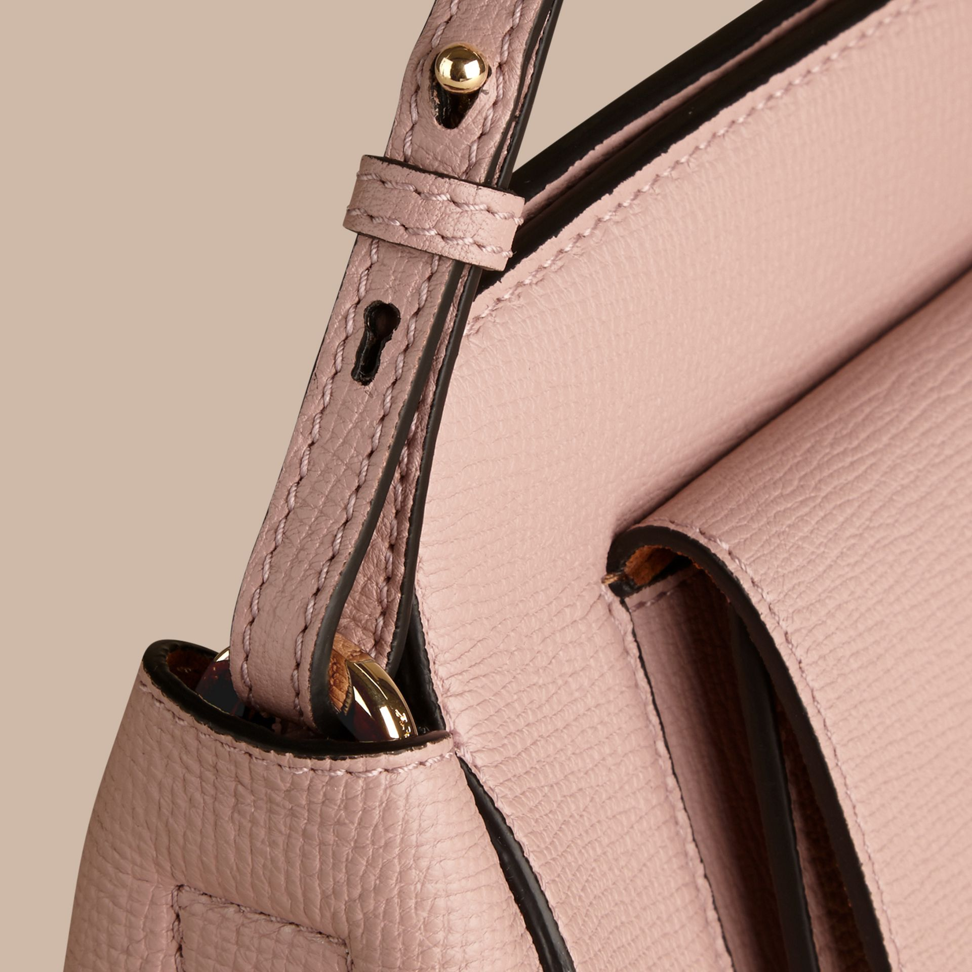 Pale orchid The Saddle Clutch in Grainy Bonded Leather - gallery image 6