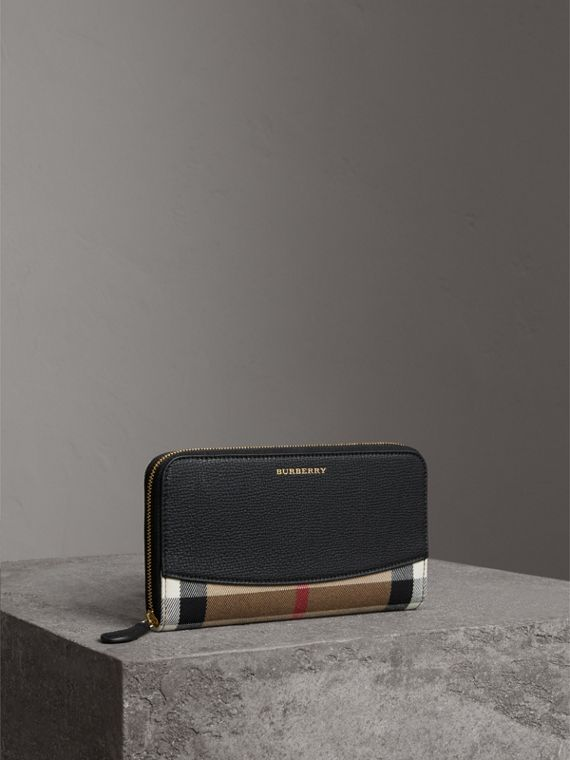 House Check and Leather Ziparound Wallet in Black