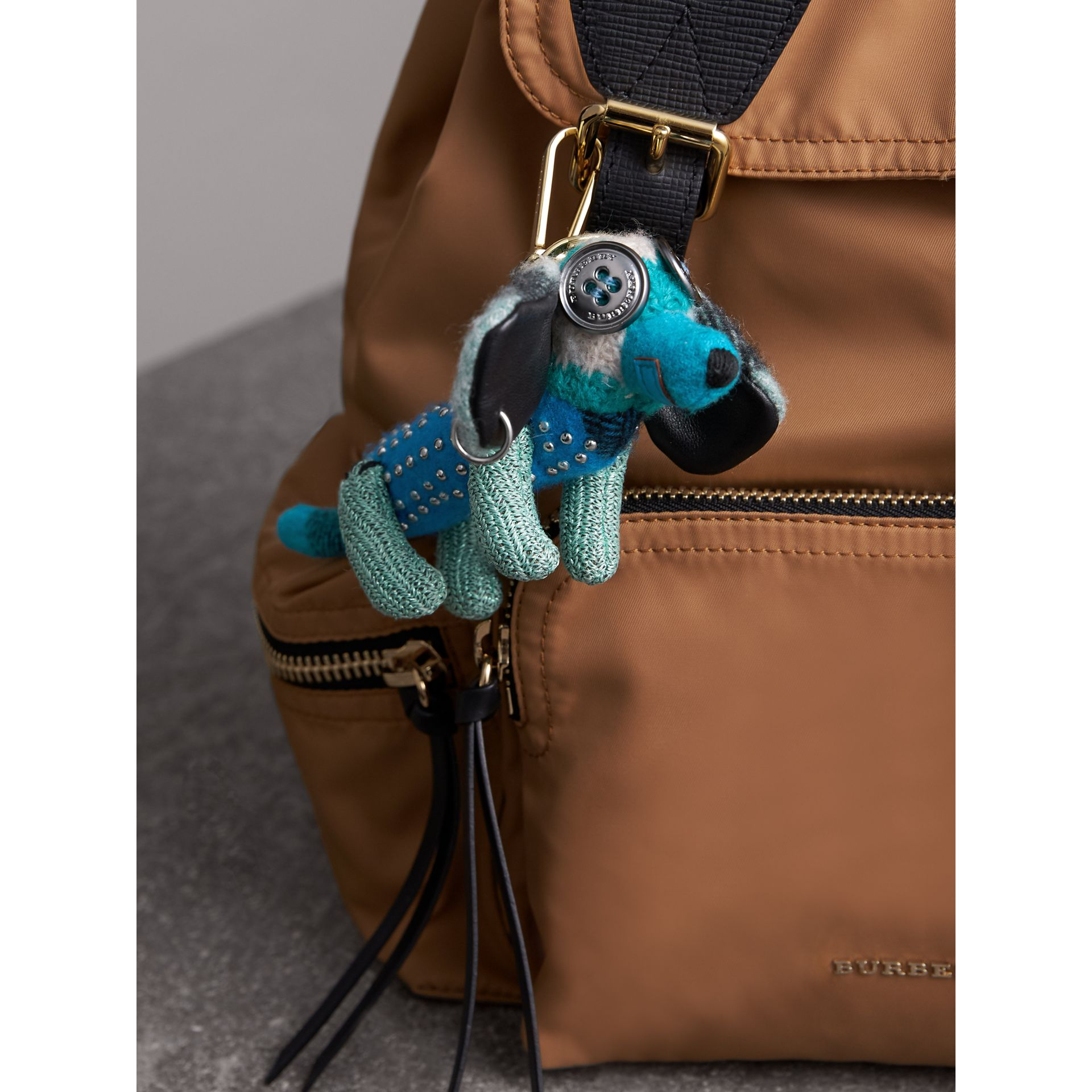 Tilly The Sausage Dog Cashmere Charm in Teal Blue | Burberry - gallery image 2