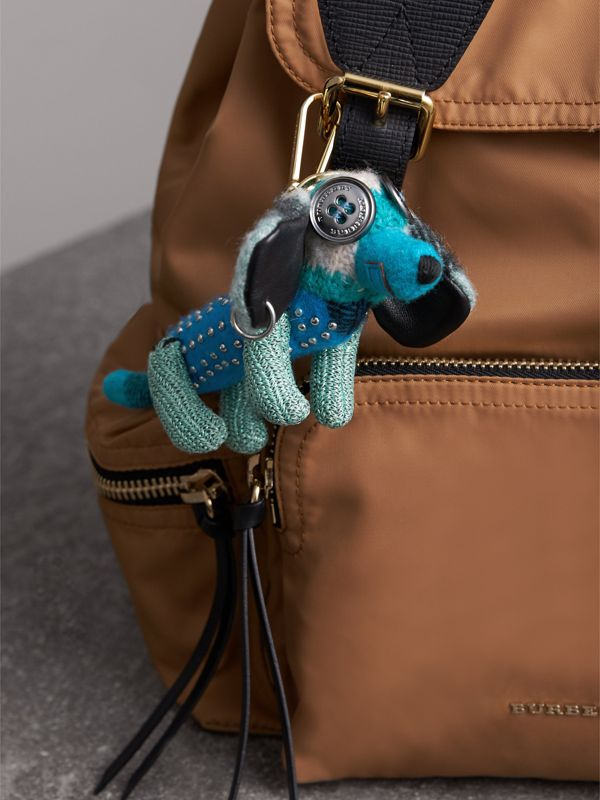 Tilly The Sausage Dog Cashmere Charm in Teal Blue | Burberry - cell image 2