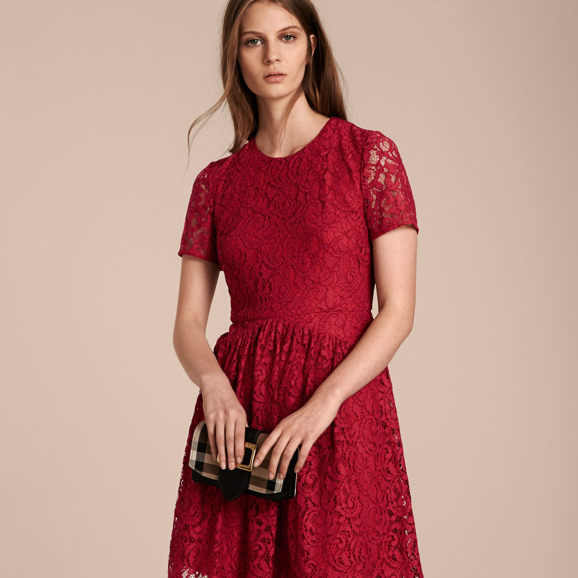 Fit-and-flare Dropped-waist Lace Dress in Parade Red - gallery image 6