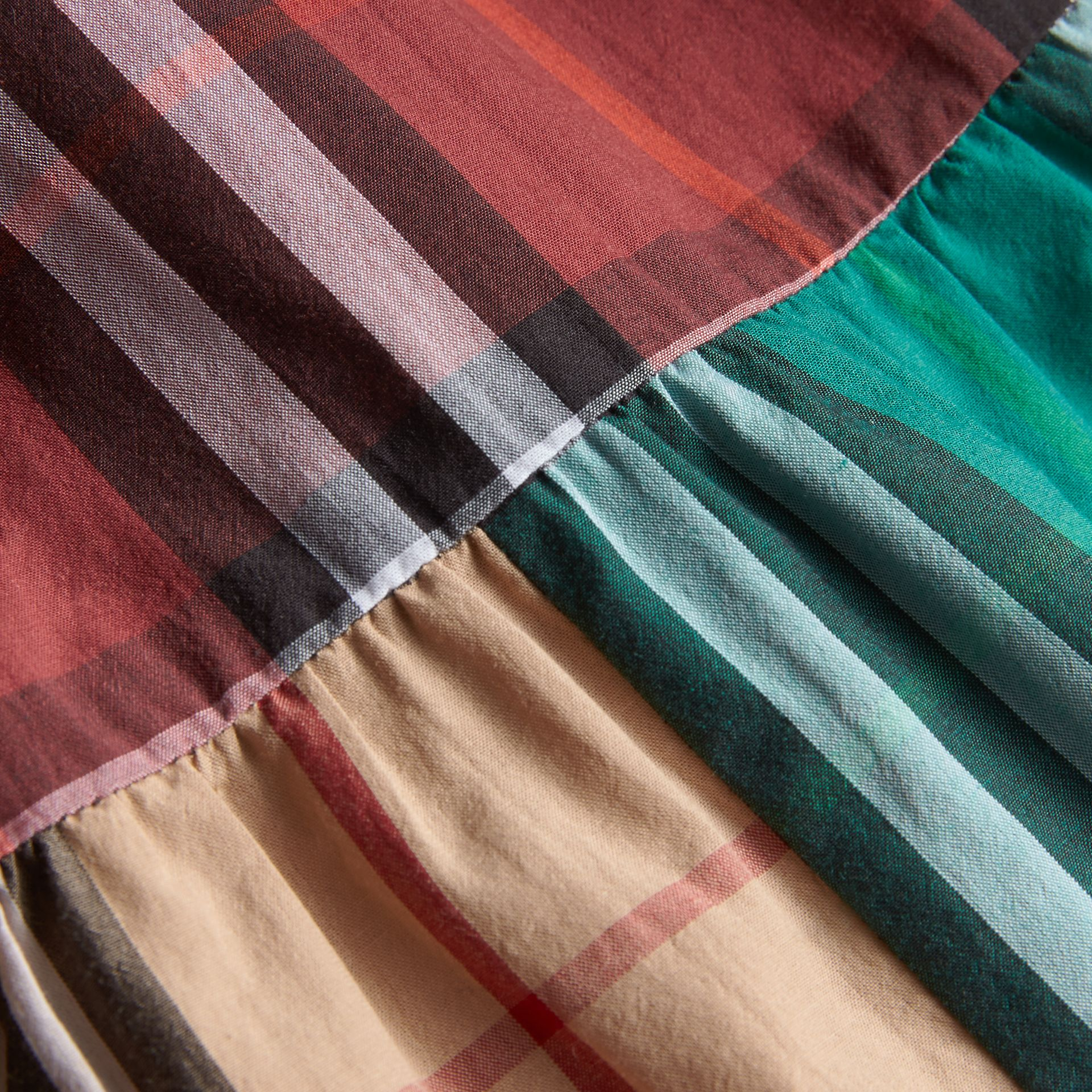 Colour Block Check Cotton Gathered Dress | Burberry - gallery image 2
