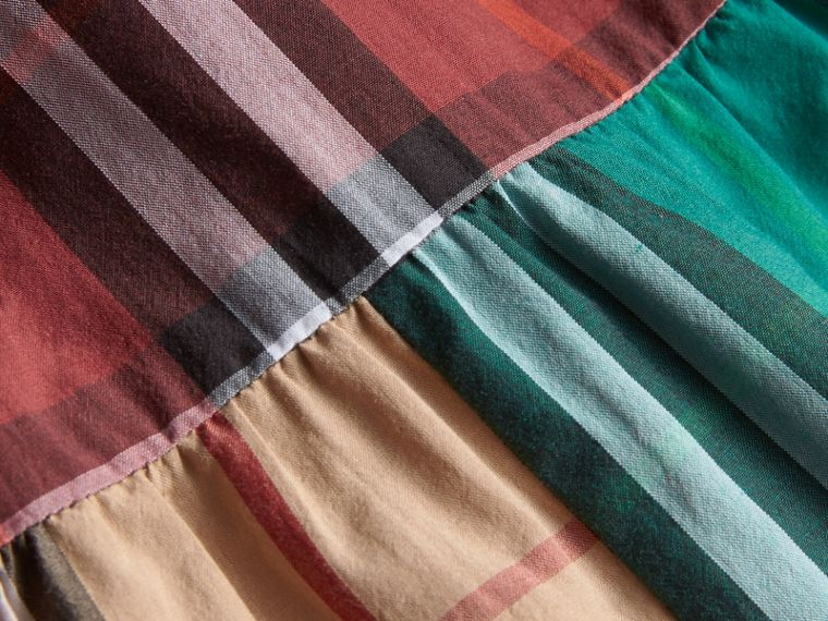Colour Block Check Cotton Gathered Dress | Burberry - cell image 1