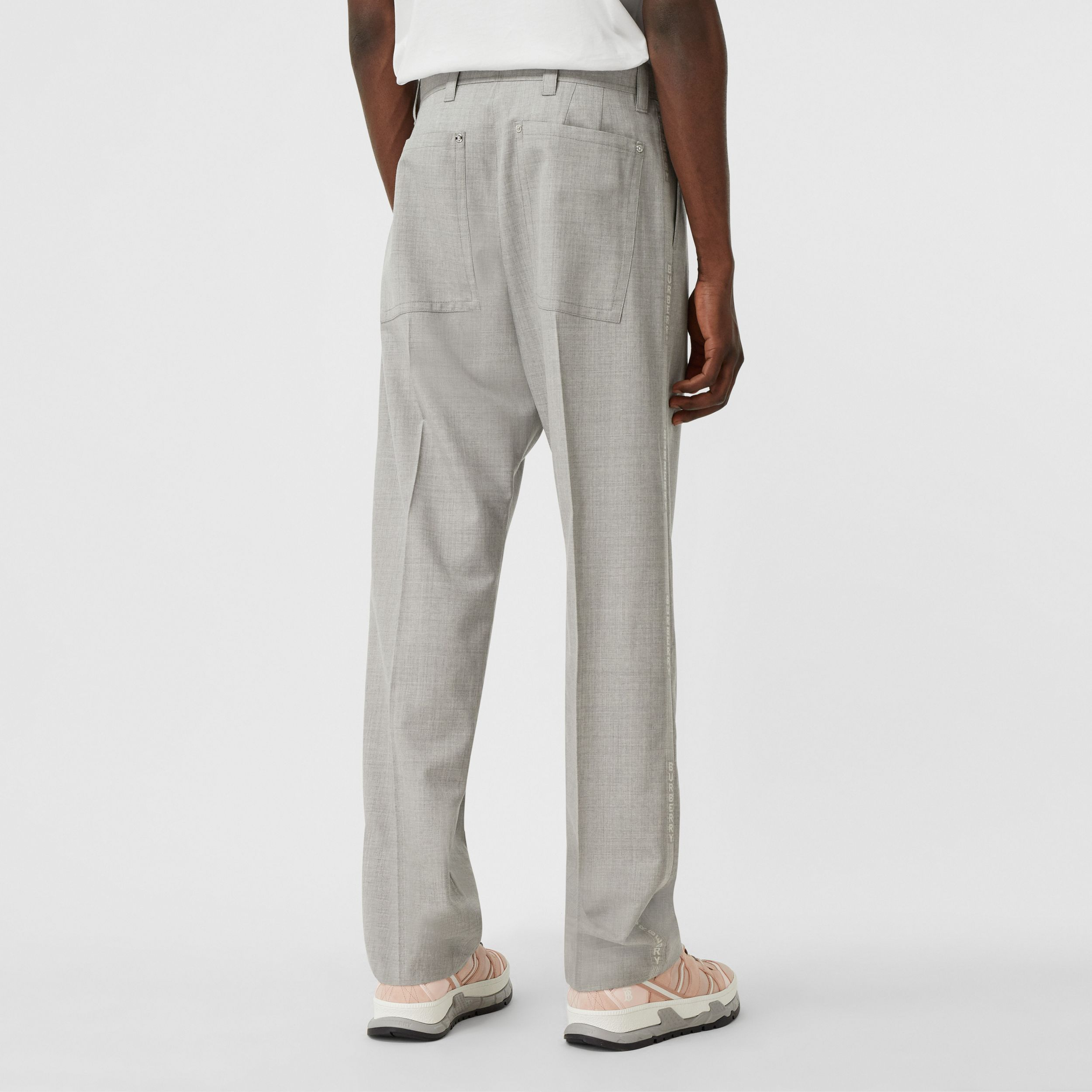 Logo Wool Jacquard Tailored Trousers in Light Pebble Grey - Men | Burberry - 3