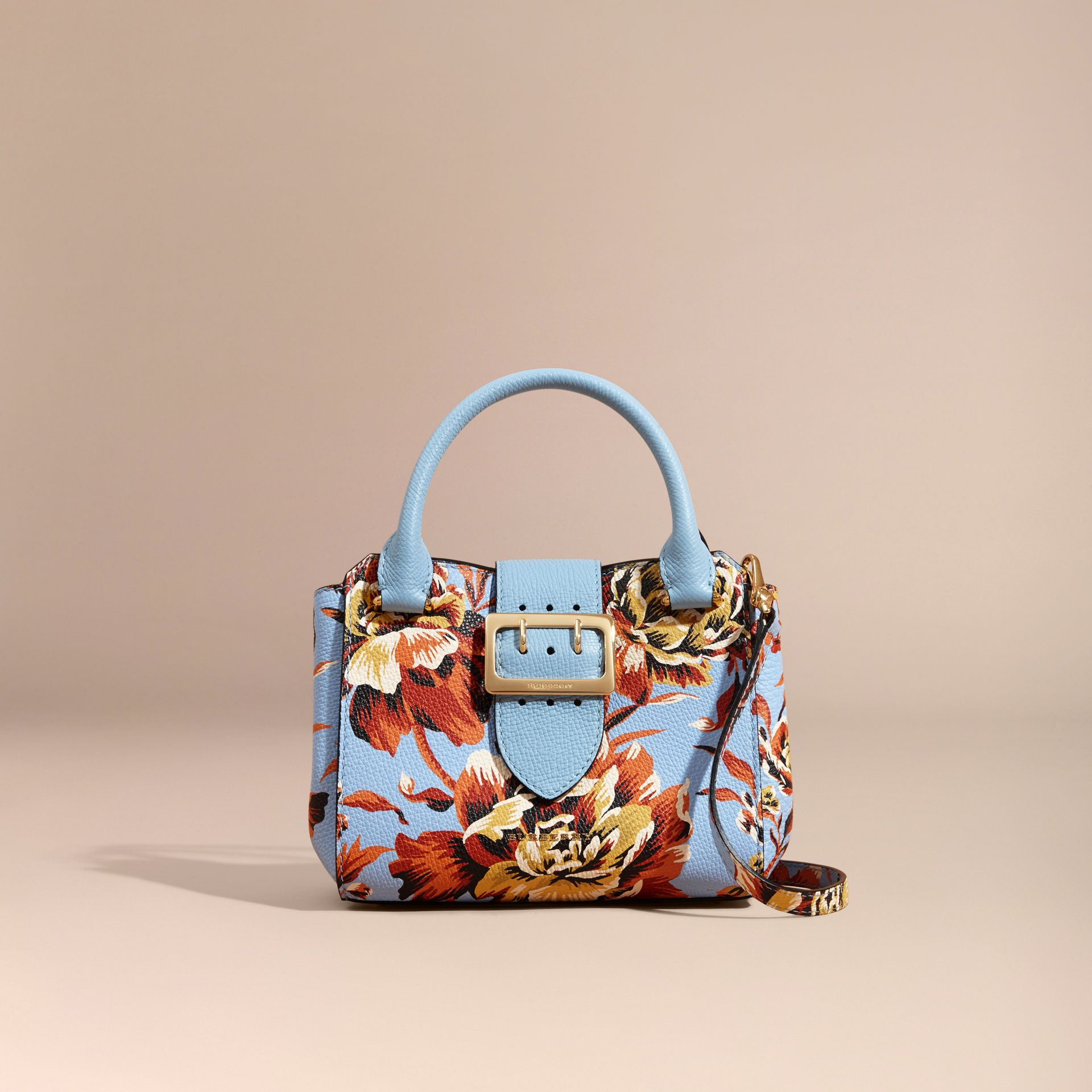 Bleu pâle/orange vif Petit sac tote The Buckle en cuir avec imprimé à pivoines roses Bleu Pâle/orange Vif - photo de la galerie 9