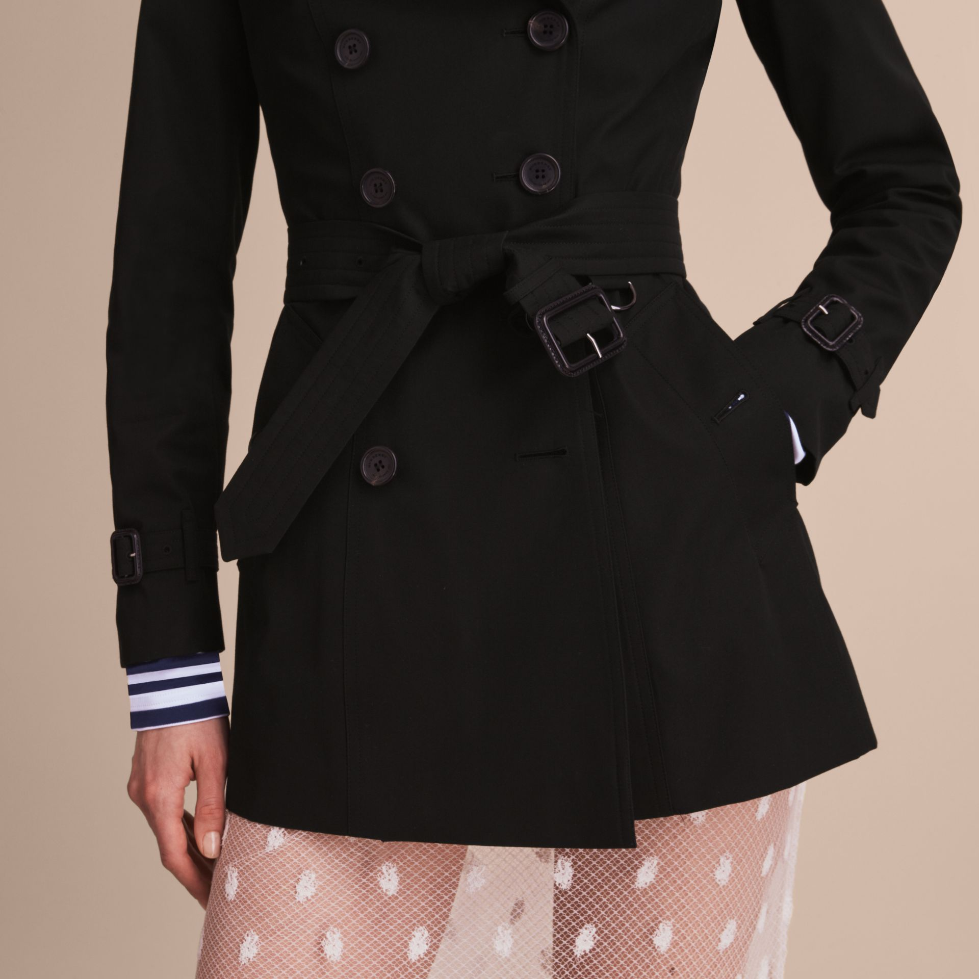 The Chelsea – Short Heritage Trench Coat Black - gallery image 6