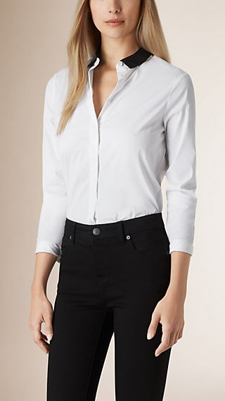 Cotton Shirt with Detachable Leather Collar