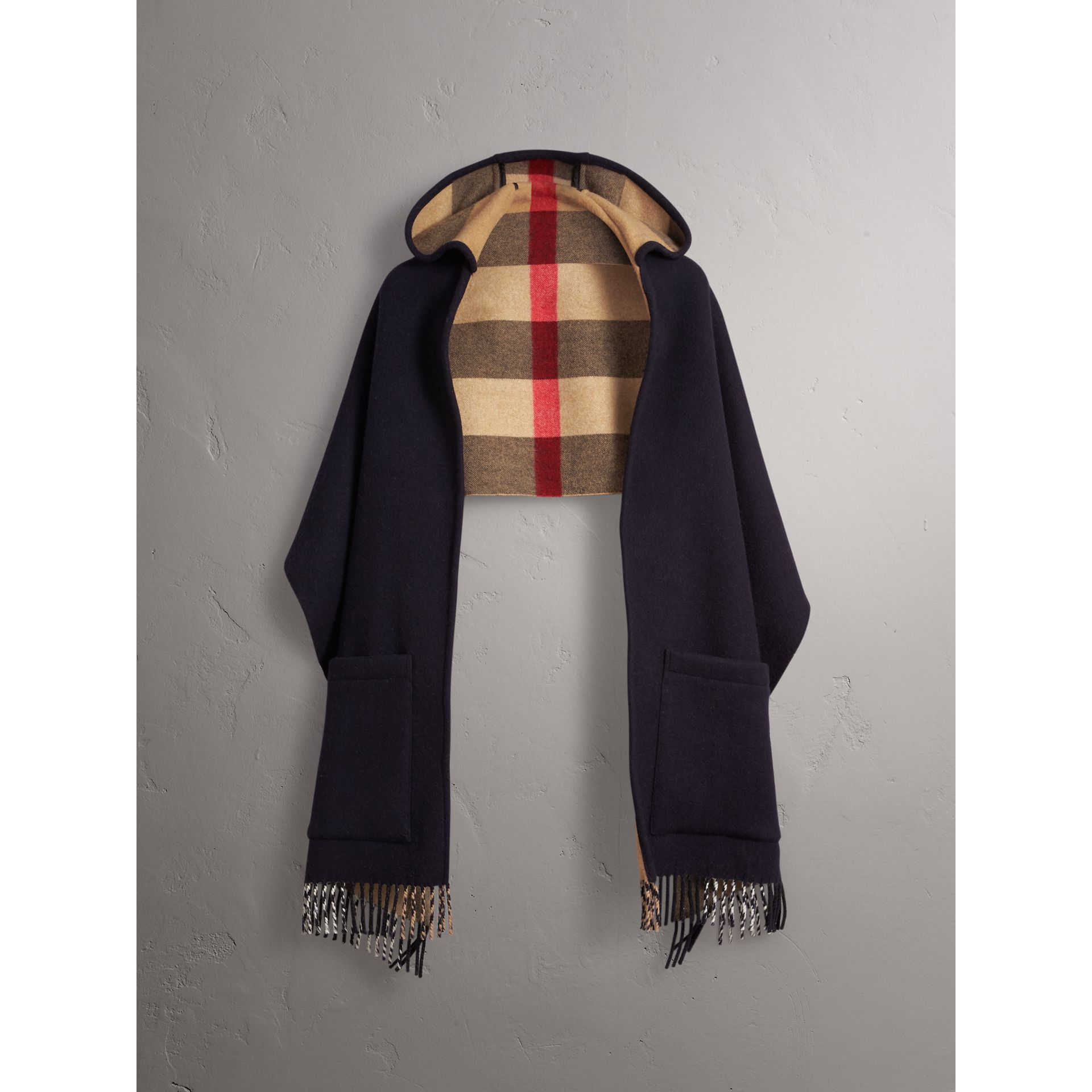 Check-lined Wool Cashmere Hooded Wrap in Navy/camel - Women | Burberry - gallery image 4