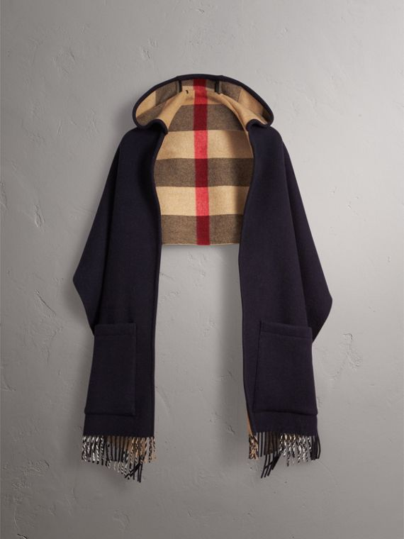 Check-lined Wool Cashmere Hooded Stole in Navy/camel - Women | Burberry - cell image 3