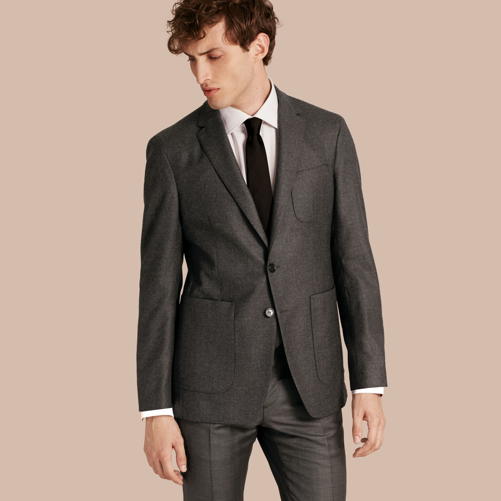 Dark grey melange Modern Fit Tailored Wool Jacket - gallery image 1