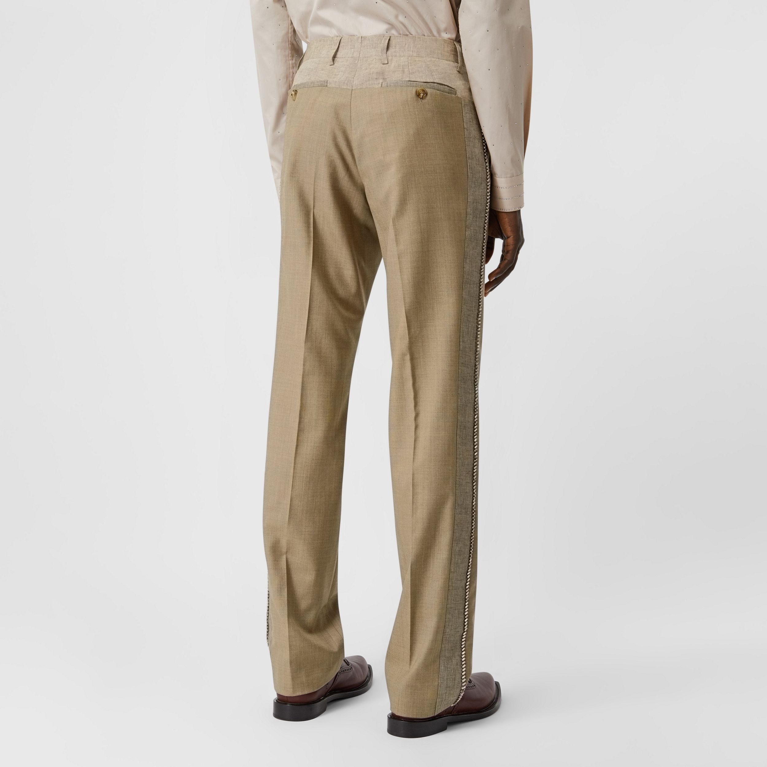 English Fit Crystal Embroidered Wool Cashmere Trousers in Pecan Melange - Men | Burberry - 3