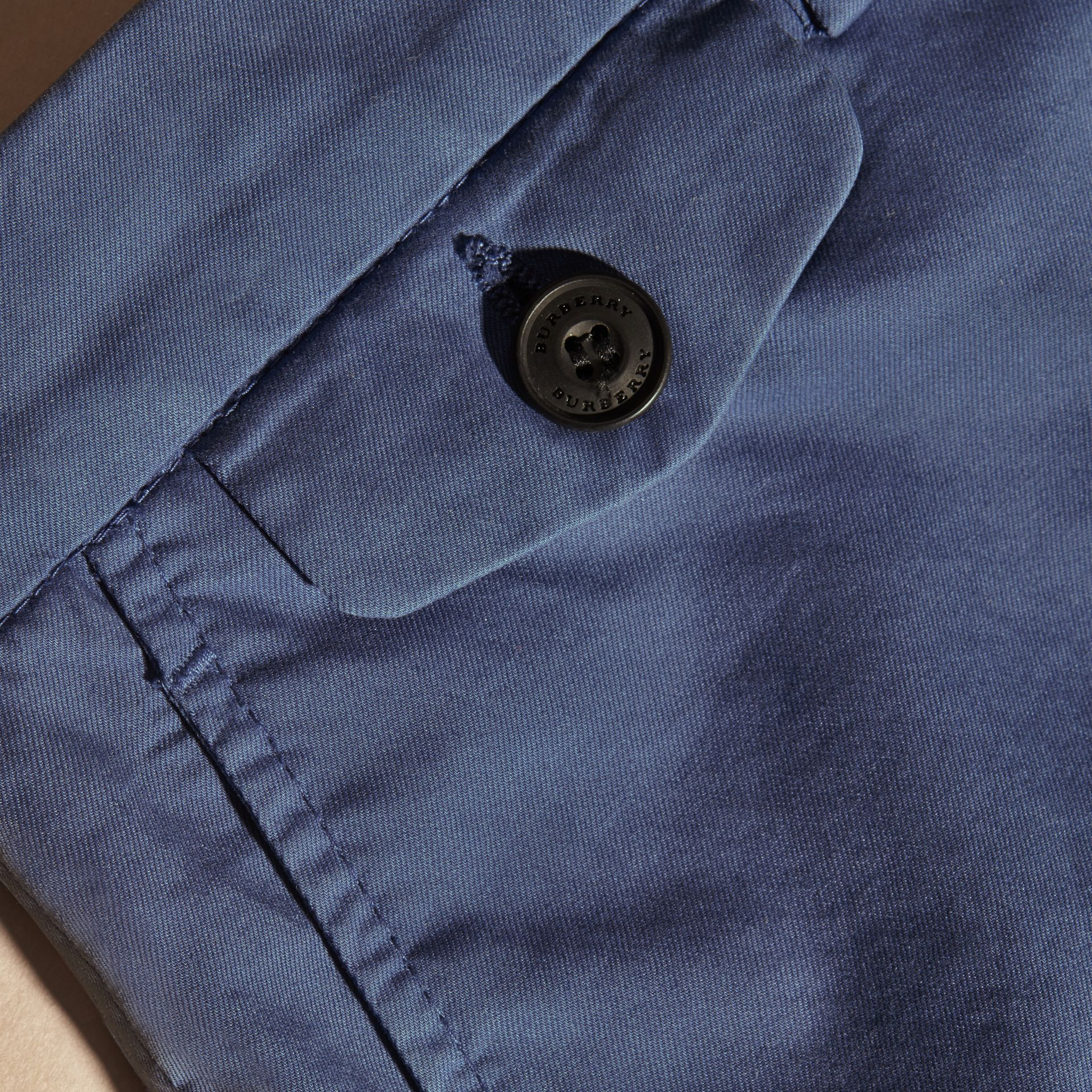 Bright steel blue Stretch Cotton Shorts - gallery image 2