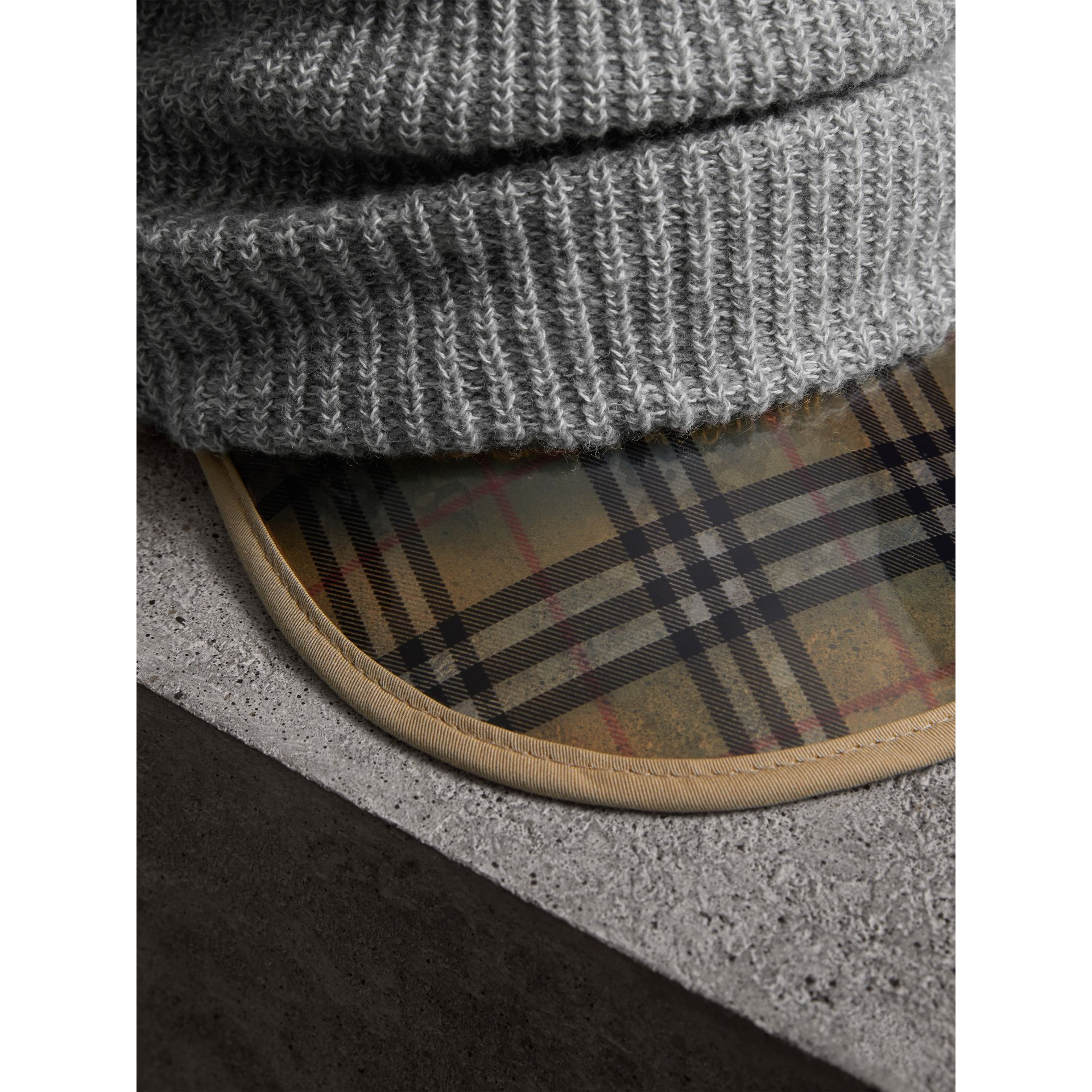 1983 Check Wool Cotton Peaked Beanie in Mid Grey Melange | Burberry Australia - gallery image 1