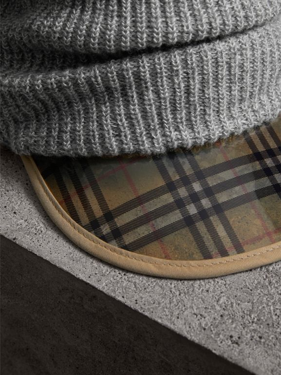 1983 Check Wool Cotton Peaked Beanie in Mid Grey Melange | Burberry Australia - cell image 1