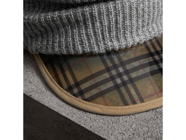 1983 Check Wool Cashmere Peaked Beanie in Mid Grey Melange - Women | Burberry - cell image 1