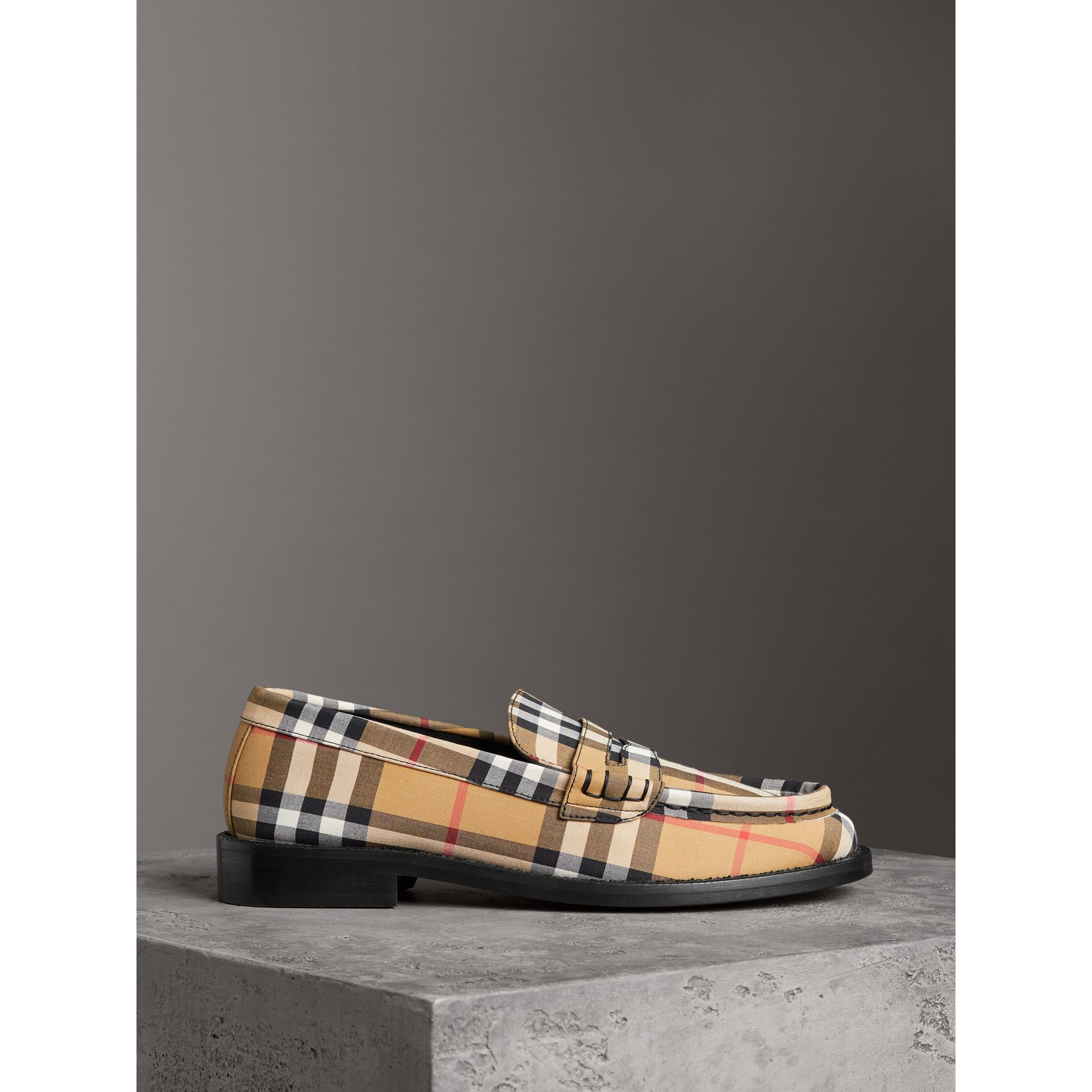 Vintage Check Cotton Penny Loafers in Antique Yellow - Women | Burberry United Kingdom - gallery image 3