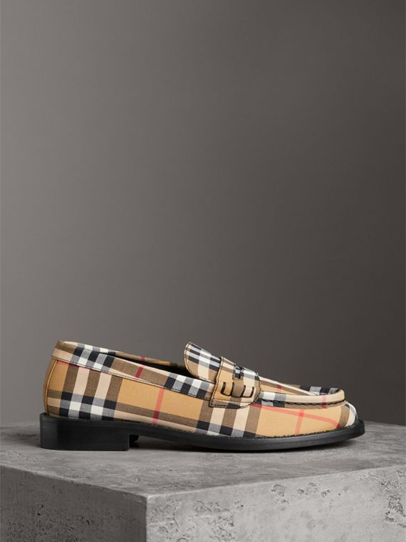 Vintage Check Cotton Penny Loafers in Antique Yellow - Women | Burberry - cell image 3