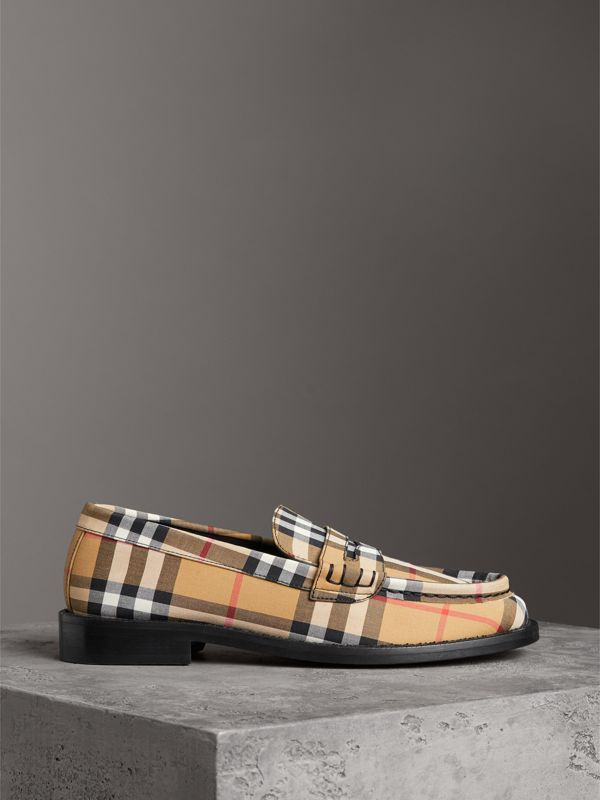 Vintage Check Cotton Penny Loafers in Antique Yellow - Women | Burberry Singapore - cell image 3
