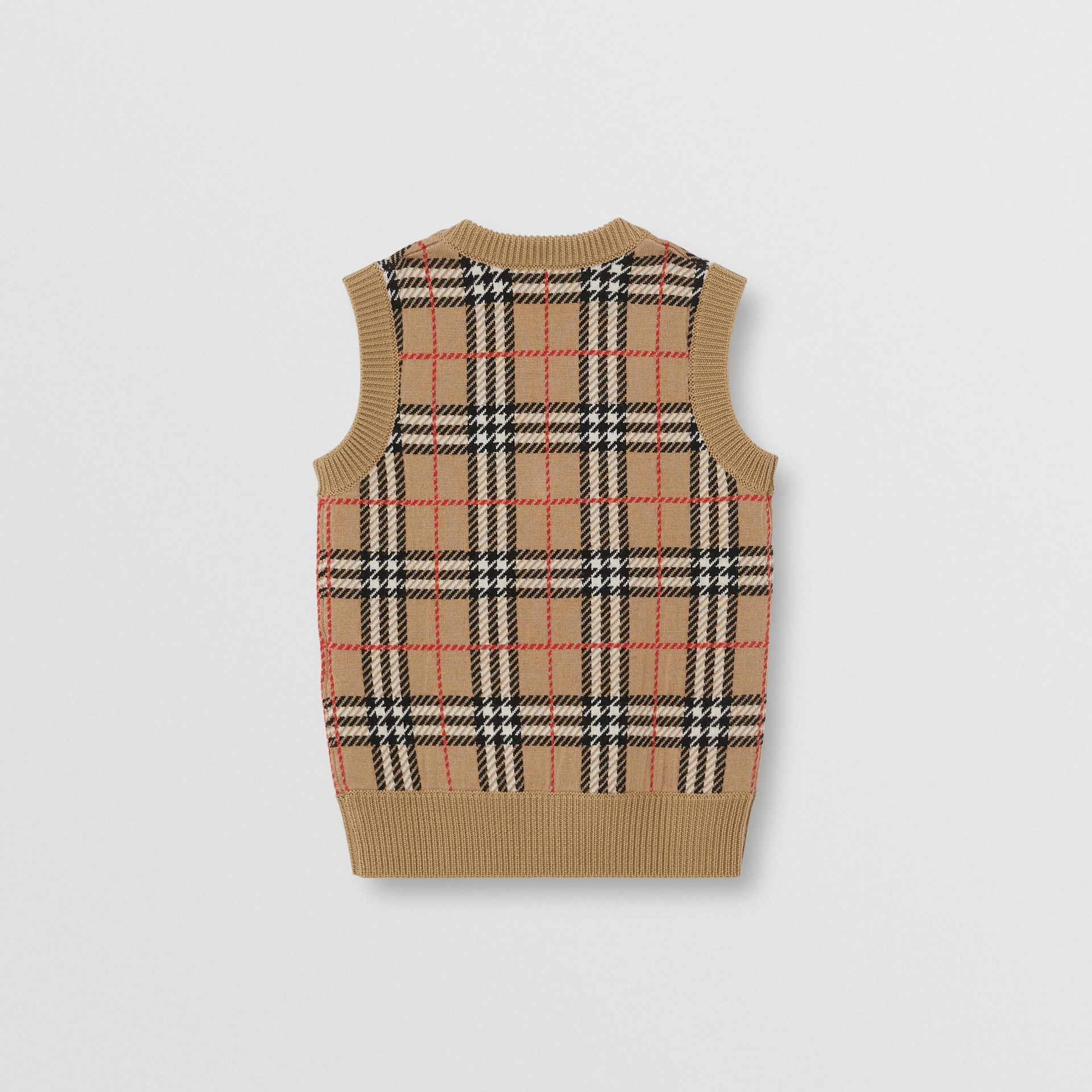 Check Merino Wool Jacquard Vest in Archive Beige | Burberry - gallery image 2