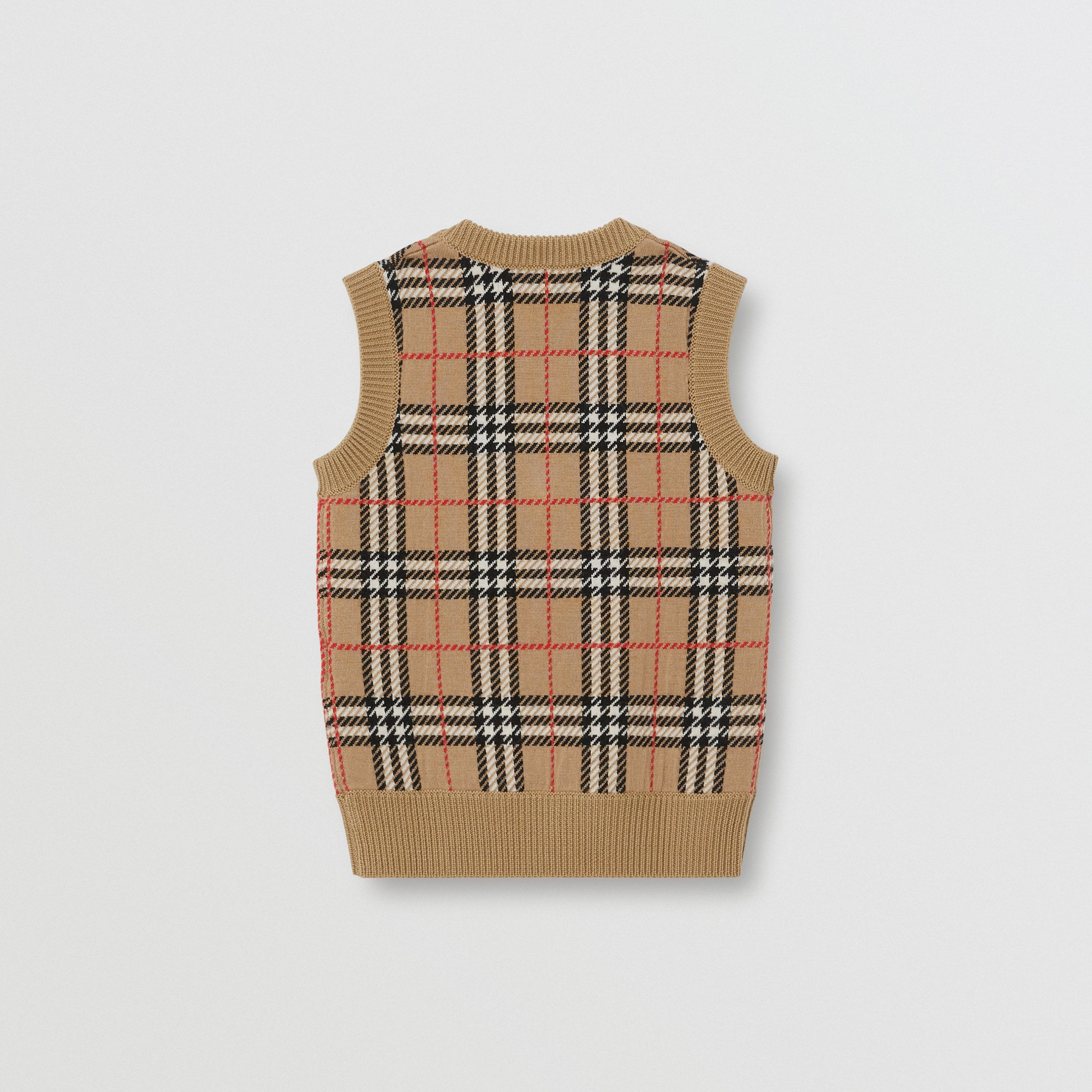 Check Merino Wool Jacquard Vest in Archive Beige | Burberry United States - 3
