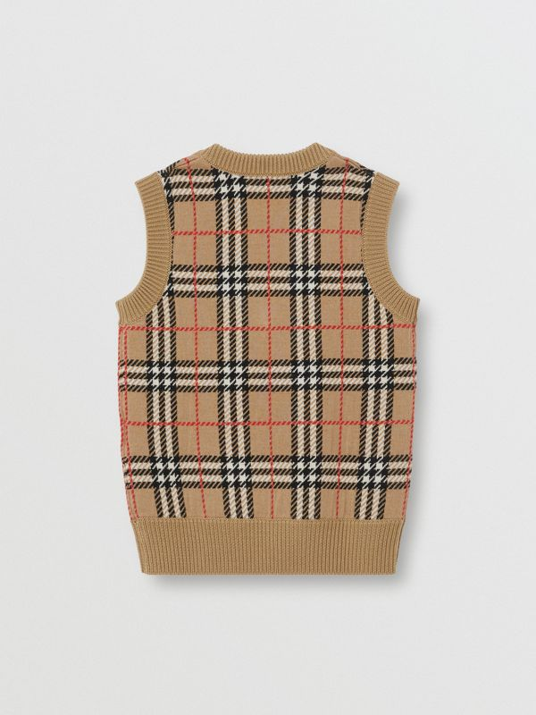 Check Merino Wool Jacquard Vest in Archive Beige | Burberry - cell image 2