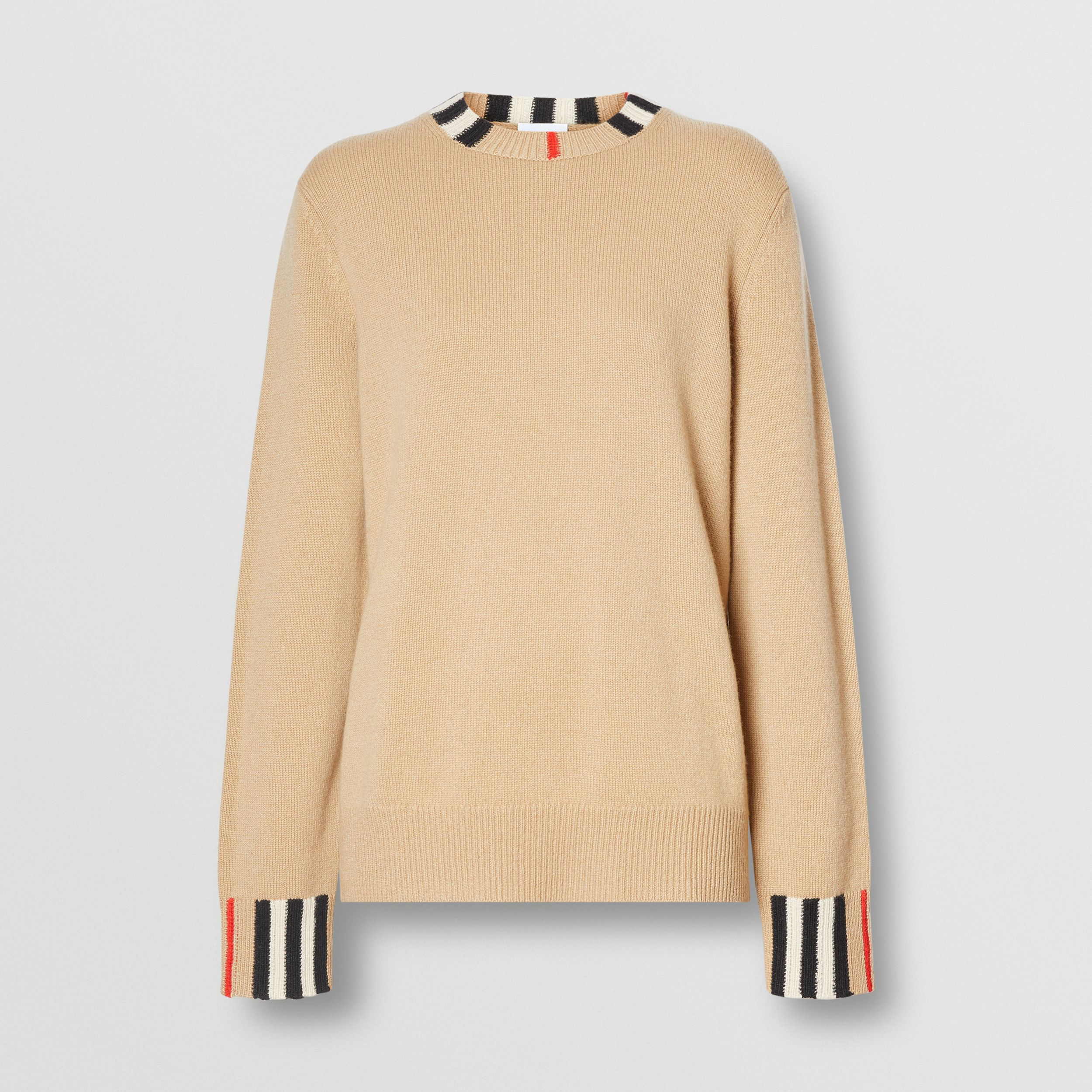 Icon Stripe Trim Cashmere Sweater in Archive Beige - Women | Burberry - 4