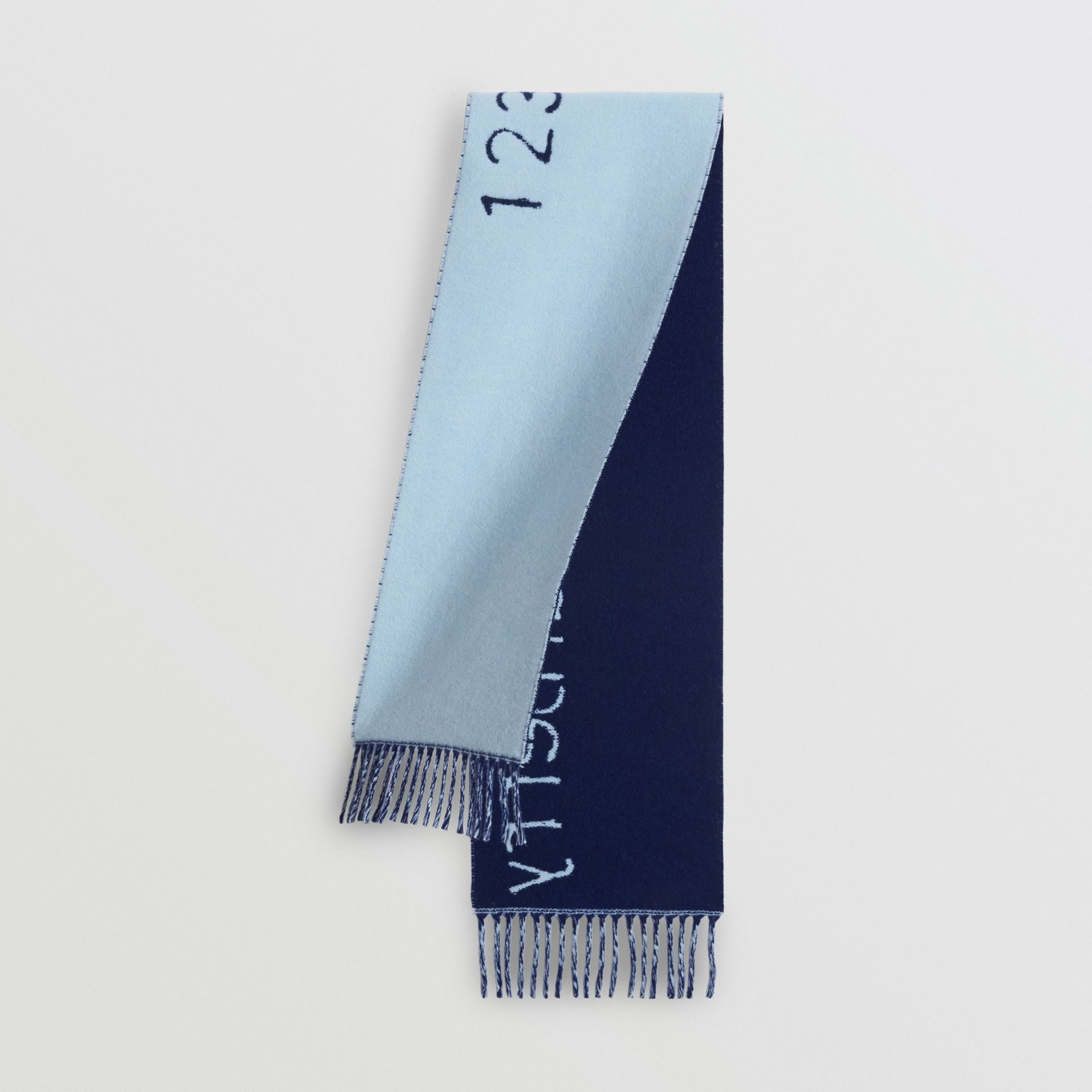 Stencil Logo Wool Cashmere Jacquard Scarf in Bright Cyan Blue - Children | Burberry - gallery image 0