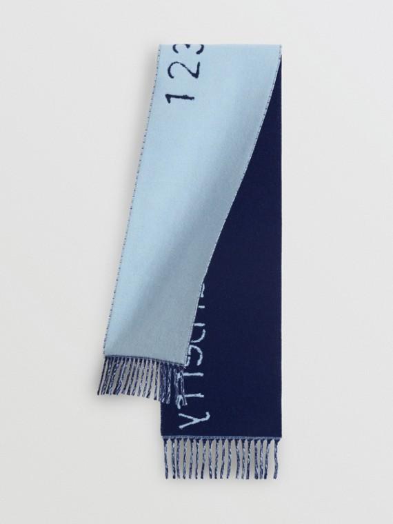 Cachecol de lã e cashmere com letras em estêncil em jacquard (Azul Ciano Intenso)