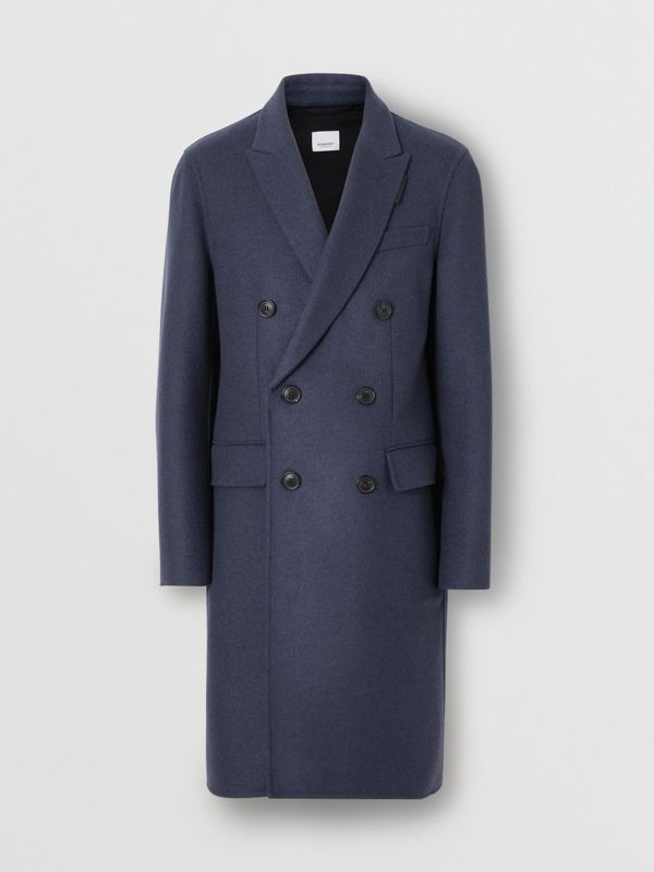 Double-faced Wool Cashmere Tailored Coat in Steel Blue Melange - Men | Burberry Canada - cell image 3