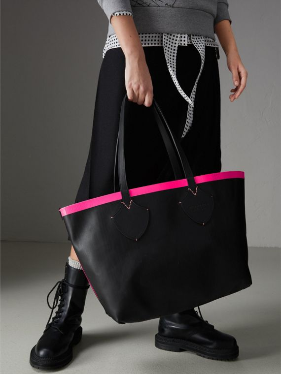 Borsa tote The Giant media reversibile in tela e pelle (Nero/rosa Neon) | Burberry - cell image 2
