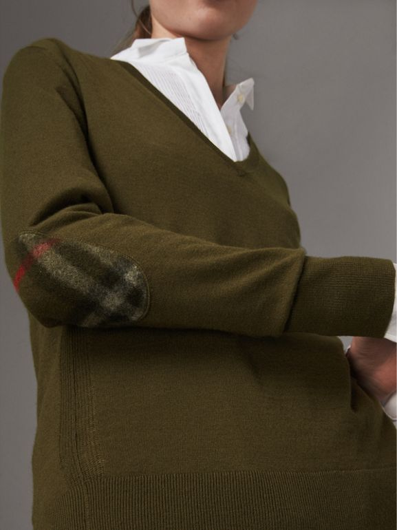Check Detail Cashmere V-neck Sweater in Khaki Green - Women | Burberry - cell image 1