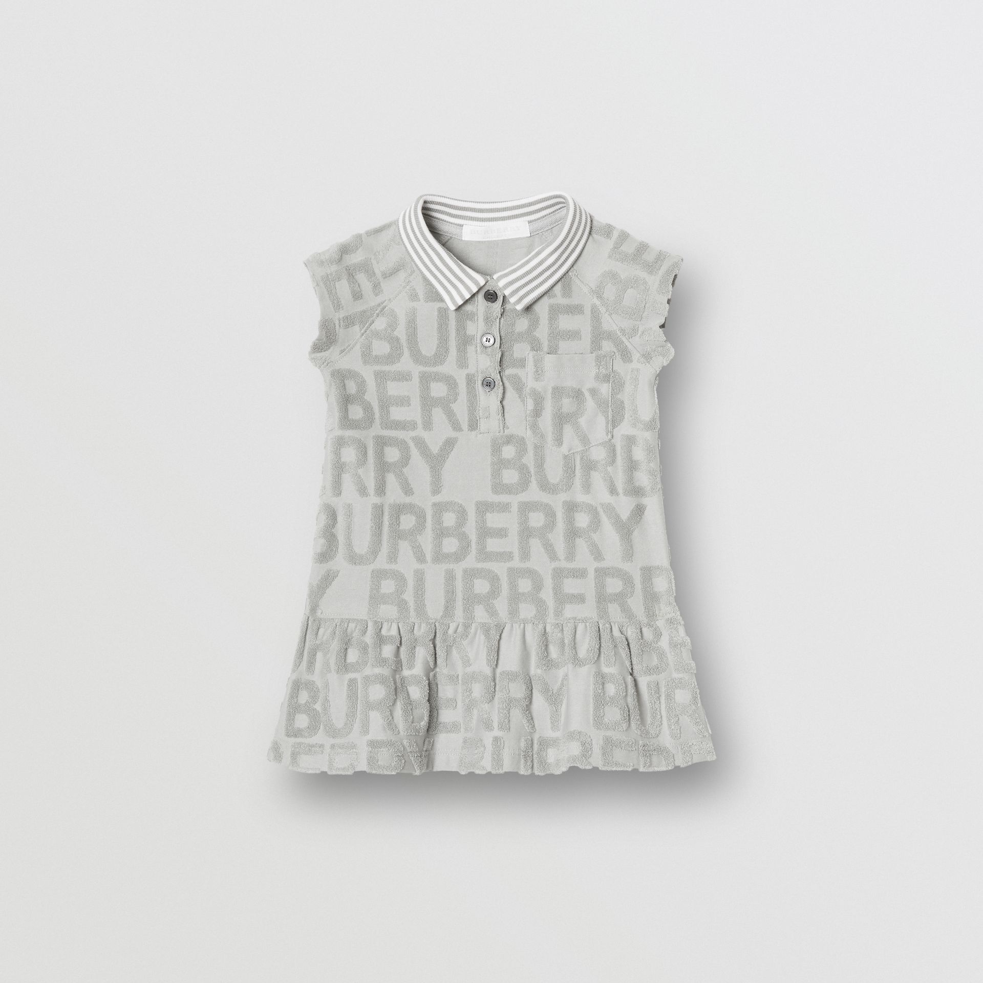 Logo Towelling Polo Dress in Pale Grey - Children | Burberry - gallery image 0