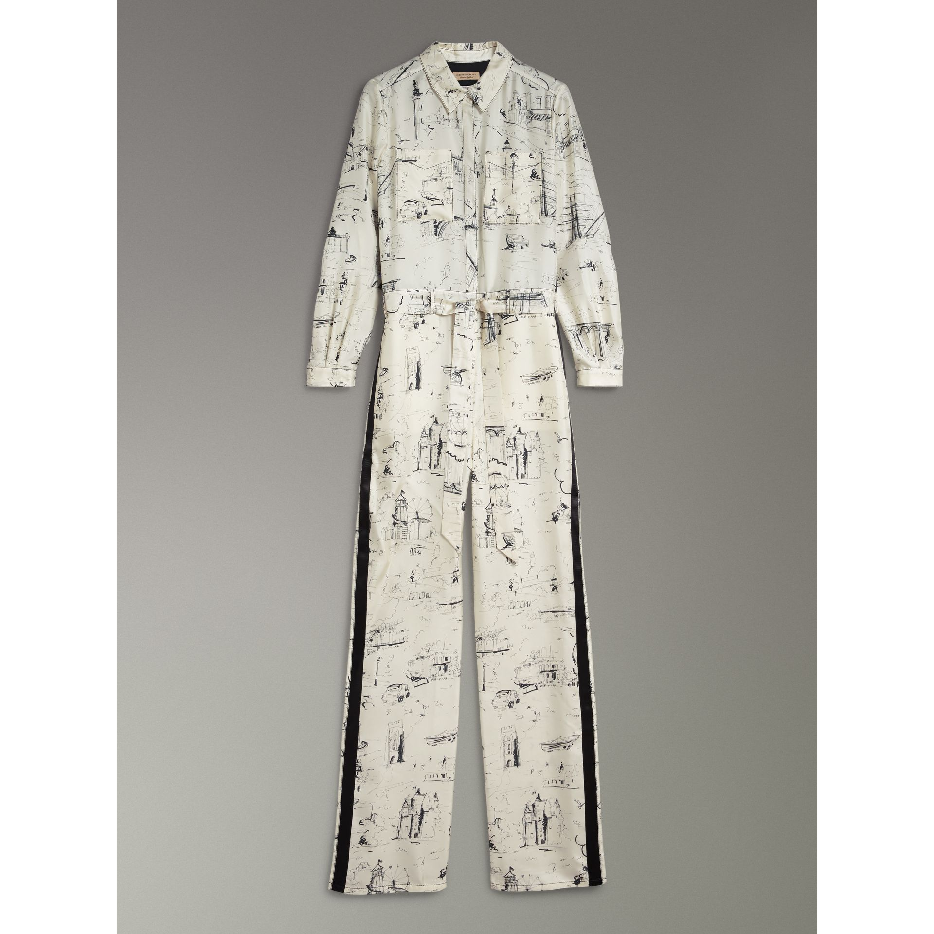 Landmark Print Silk Jumpsuit in Off White/black - Women | Burberry - gallery image 3