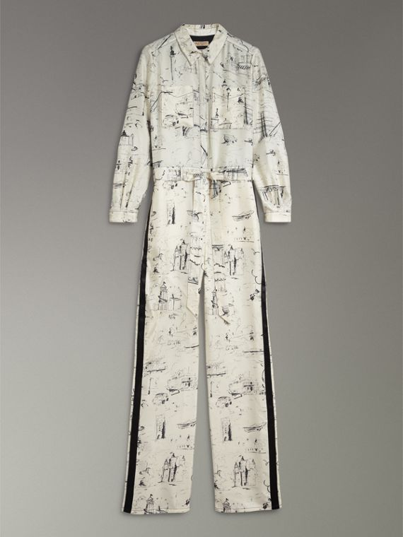 Landmark Print Silk Jumpsuit in Off White/black - Women | Burberry - cell image 3