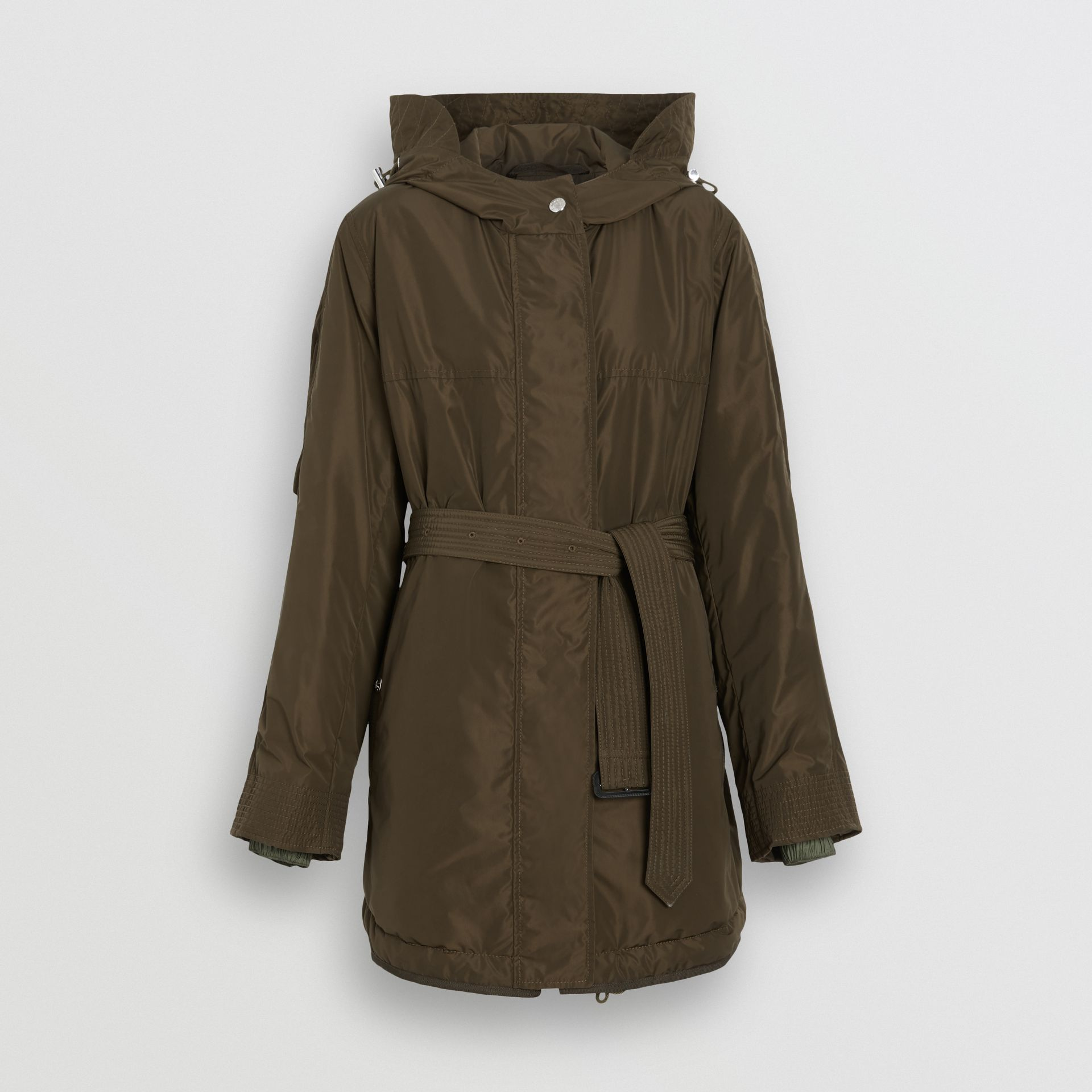 Shape-memory Taffeta Hooded Parka in Dark Olive - Women | Burberry - gallery image 3