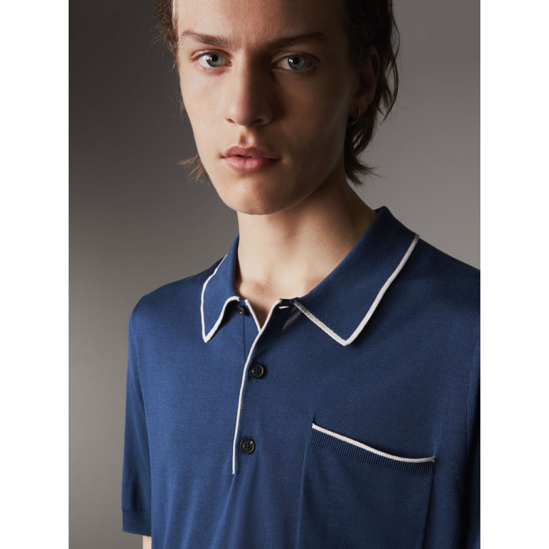 Tipped Detail Knitted Silk Polo Shirt in Steel Blue - Men | Burberry United Kingdom - gallery image 2