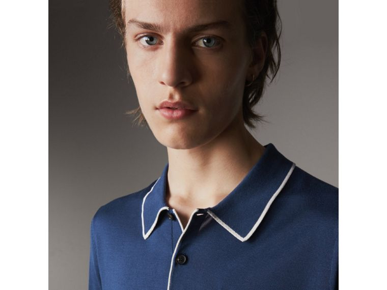 Tipped Detail Knitted Silk Polo Shirt in Steel Blue - Men | Burberry United Kingdom - cell image 1