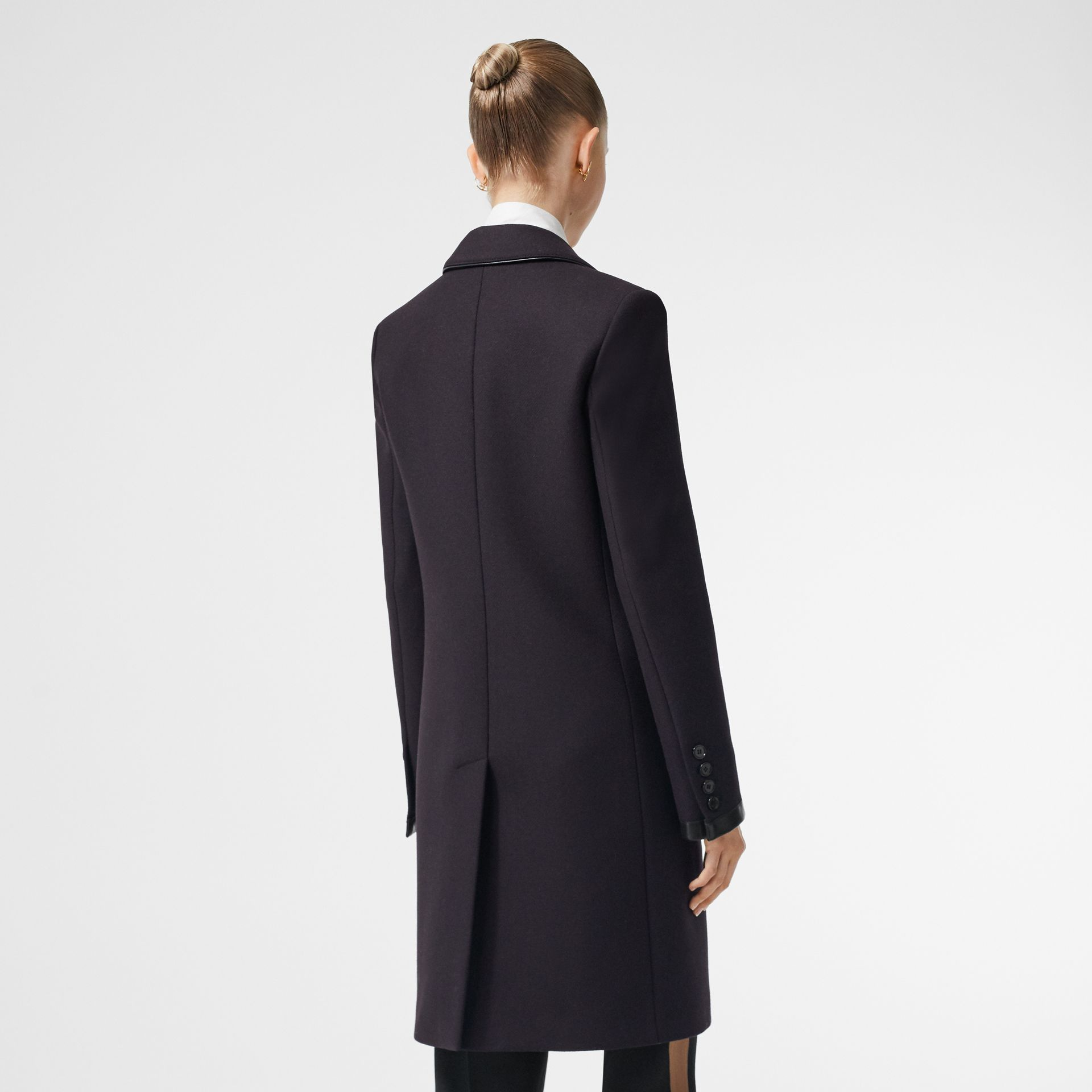 Lambskin Trim Wool Cashmere Blend Tailored Coat in Black Maroon - Women | Burberry - gallery image 1
