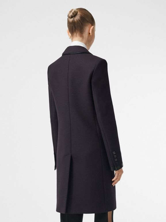Lambskin Trim Wool Cashmere Blend Tailored Coat in Black Maroon - Women | Burberry - cell image 1