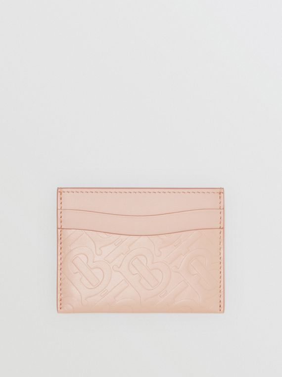 Monogram Leather Card Case in Rose Beige