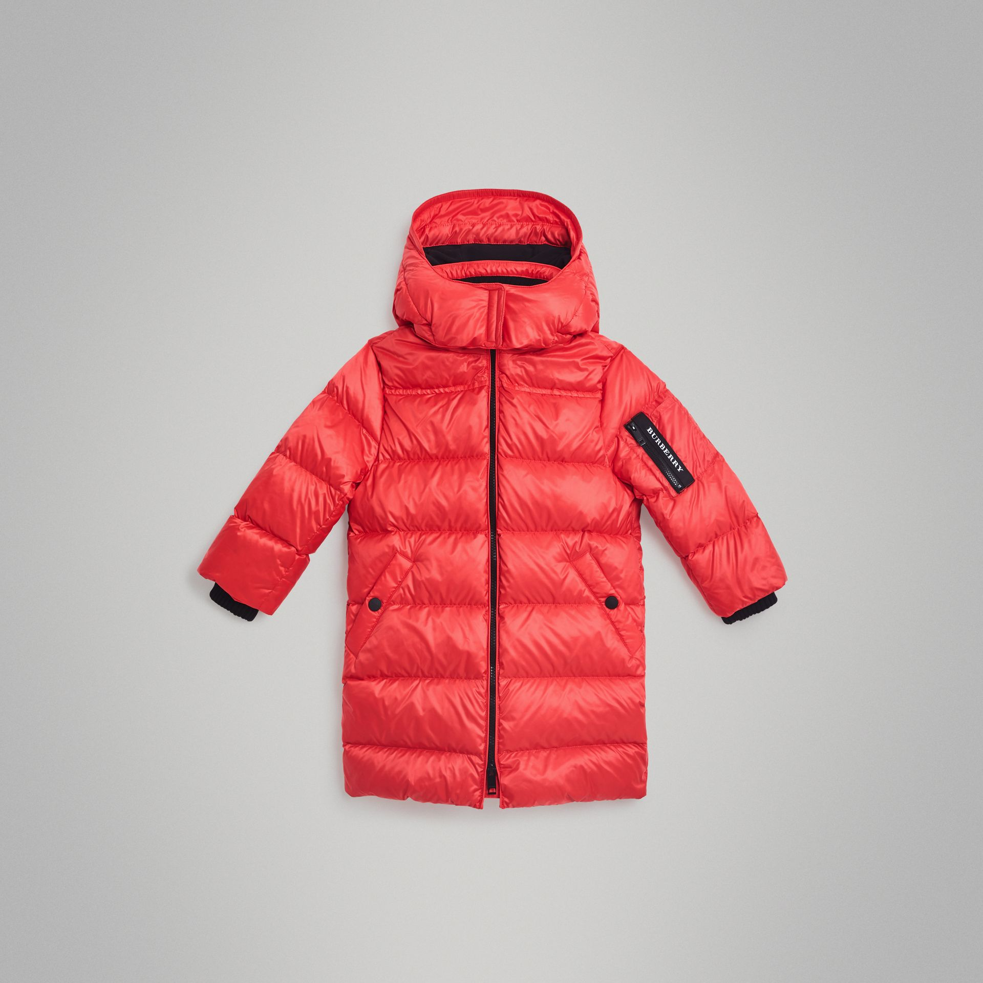 Detachable Hood Down-filled Puffer Coat in Bright Orange Red | Burberry - gallery image 0