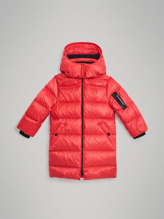 Detachable Hood Down-filled Puffer Coat in Bright Orange Red