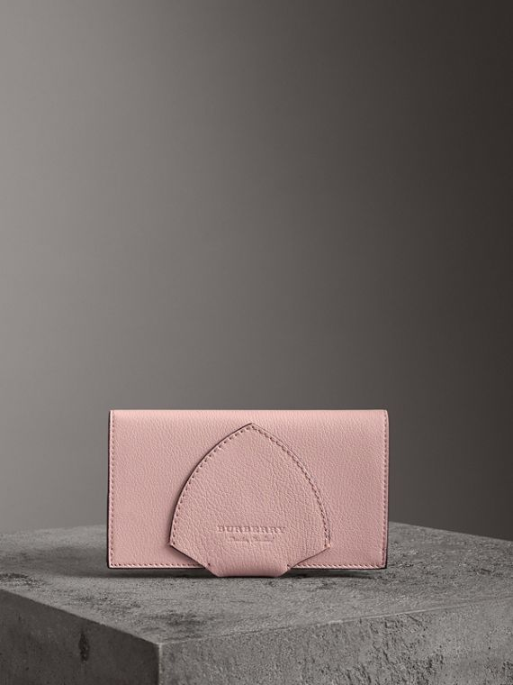 Equestrian Shield Two-tone Leather Continental Wallet in Pale Ash Rose