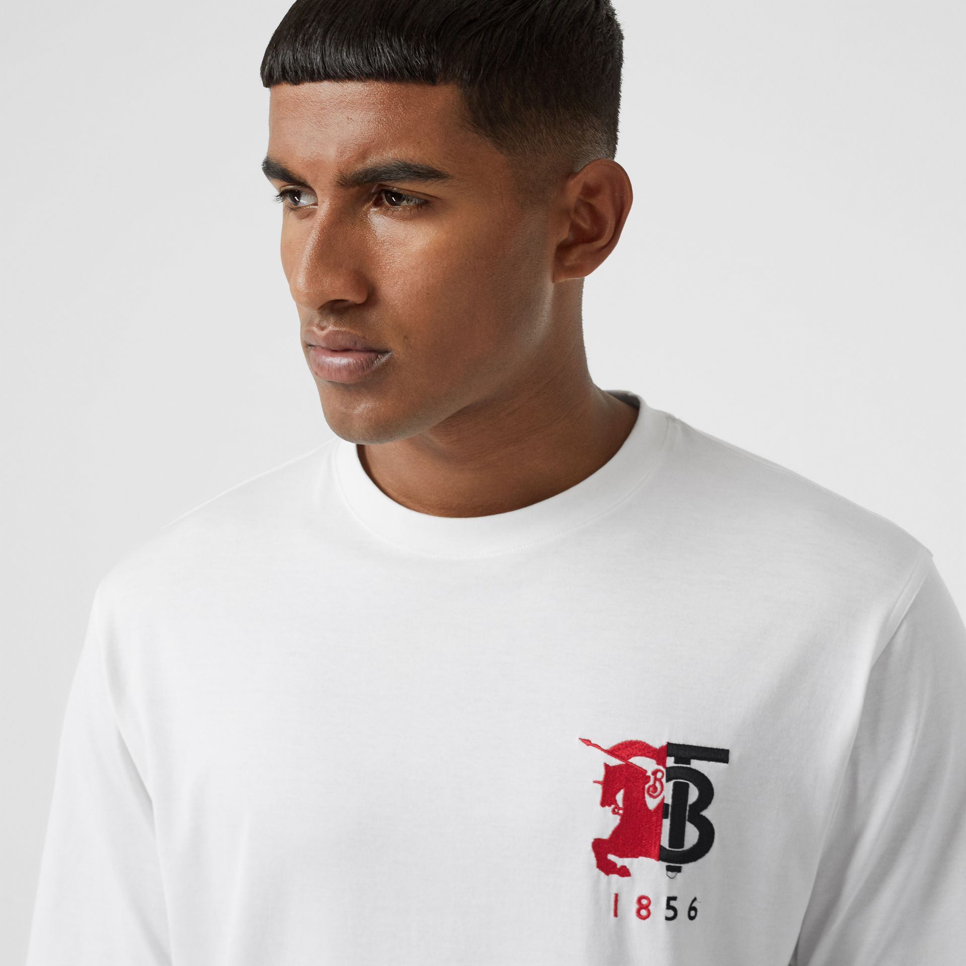 Contrast Logo Graphic Cotton T-shirt in White - Men | Burberry - gallery image 4